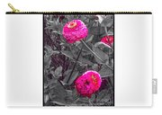 Pink Zinnias Against Grey Background Carry-all Pouch