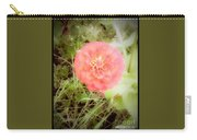 Pinkish Orange Zinnia On Green Background Carry-all Pouch