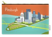 Pittsburgh Pennsylvania Horizontal Skyline - Orange Carry-all Pouch