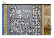 Pizza Menu Florence Italy Carry-all Pouch