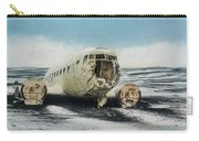 Painted Effect - Plane On Solheimasandur Beach Carry-all Pouch by Susan Leonard