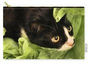 Playful Tuxedo Kitty In Green Tissue Paper Carry-all Pouch