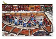 Playoff Time At The Local Hockey Rink Montreal Winter Scenes Paintings Best Canadian Art C Spandau Carry-all Pouch