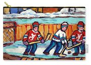 Outdoor Hockey Rink Painting  Devils Vs Rangers Sticks And Jerseys Row House In Winter C Spandau Carry-all Pouch