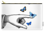 Pointing Finger With Blue Butterflies Carry-all Pouch