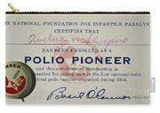 Polio Certificate, 1954 Carry-all Pouch