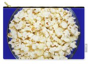 Popcorn In Glass Bowl On Blue Background Carry-all Pouch