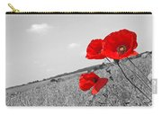 Poppy Fields 2 Black And White Carry-all Pouch