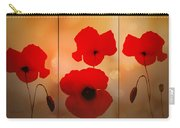 Poppy Triptych Carry-all Pouch by Valerie Anne Kelly