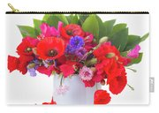 Poppy With Sweet Pea And Corn Flowers On White Carry-all Pouch