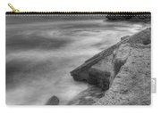 Portland Bill Seascape In Black And White Carry-all Pouch