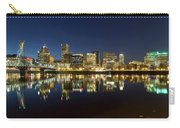 Portland City Skyline Reflection On Willamette River Carry-all Pouch