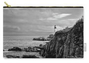 Portland Head Lighthouse - Cape Elizabeth Maine In Black And White Carry-all Pouch