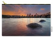 Portland Skyline Along Willamette River At Sunset Carry-all Pouch