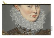 Portrait Of A Lady Head And Shoulders In A Lace Ruff Carry-all Pouch