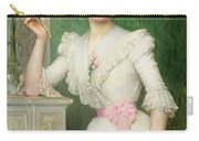 Portrait Of A Lady Holding A Fan Carry-all Pouch by Jules-Charles Aviat