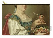 Portrait Of A Lady With A Flower Basket Carry-all Pouch