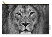 Portrait Of A Male Lion Black And White Version Carry-all Pouch