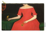 Portrait Of A Winsome Young Girl In Red With Green Slippers Dog And Bird Carry-all Pouch