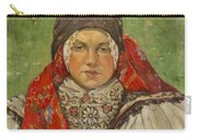 Portrait Of A Woman In A Red Scarf Carry-all Pouch