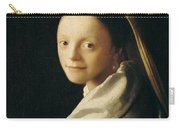 Portrait Of A Young Woman Carry-all Pouch by Jan Vermeer