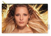 Portrait Of Beautiful Woman Face With Glowing Golden Blond Hair Carry-all Pouch