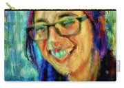 Portrait Painting In Acrylic Paint Of A Young Fresh Girl With Colorful Hair In A Library With Books  Carry-all Pouch