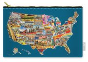 Postcards Of The United States Vintage Usa All 50 States Map Carry-all Pouch