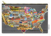 Postcards Of The United States Vintage Usa Lower 48 Map On Gray Wood Background Carry-all Pouch