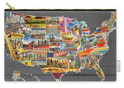 Postcards Of The United States Vintage Usa Map On Gray Wood Background Carry-all Pouch