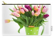 Pot Of Pink And Violet Tulips Carry-all Pouch