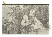 Praying Male Penitent In The Wilderness Carry-all Pouch