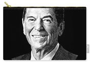 President Ronald Reagan Graphic - Black And White Carry-all Pouch