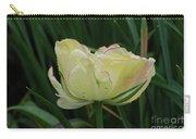 Pretty Cream Colored Tulip Edged In Red With Dew Carry-all Pouch