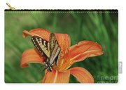 Pretty Orange Lily With A Butterfly On It's Petals Carry-all Pouch