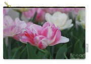 Pretty Pink And White Striped Ruffled Parrot Tulips Carry-all Pouch