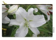 Pretty White Lilies Blooming In A Garden Carry-all Pouch