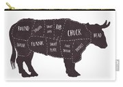 Primitive Butcher Shop Beef Cuts Chart T-shirt Carry-all Pouch by Edward Fielding