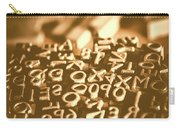 Print Industry Typographic Letters And Numbers Carry-all Pouch
