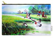 Artistic Painting Photo Flying Bird Handmade Painted Village Art Photo Carry-all Pouch
