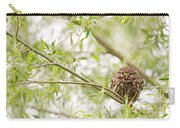 Puffed Up Little Owl In A Willow Tree Carry-all Pouch