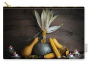 Pumpkin, Corncob, Autumn Leaves And Burning Candles Decoration O Carry-all Pouch