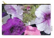 Purple And Pink Petunias Oil Painting Carry-all Pouch