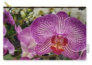 Purple And White Orchid Carry-all Pouch