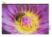 Purple And Yellow Lotus With A Bee Textured Carry-all Pouch