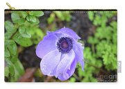 Purple Flowering Anemone Flower In A Lush Green Garden Carry-all Pouch