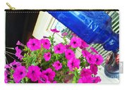 Purple Flowers On White Window 2 Carry-all Pouch