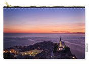 Purple Light On The Adriatic Sea After Sundown With Lights On Pi Carry-all Pouch
