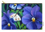 Purple Pansies And White Moth Carry-all Pouch
