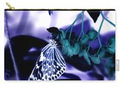 Purple Teal And A White Butterfly Carry-all Pouch